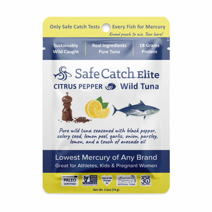 Citrus Pepper Elite Wild Tuna Pouch - 2.6oz Safe Catch - Paleo By Maileo