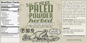 Herbed Paleo Powder Seasoning (Salt-Free) - 4oz Paleo Powder - Paleo By Maileo Nutrition Facts