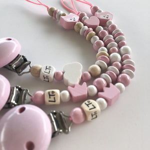 Pretty in pink soother chain - lunastreasures