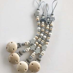 hey hey grey soother chain - lunastreasures