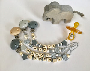 hey hey grey & mono wooden soother chain - lunastreasures