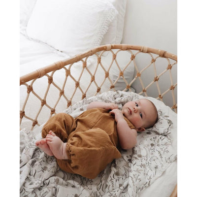 Wild Meadow (neutral petals) Bamboo muslin Swaddle wrap - lunastreasures