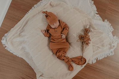 desert bronze knotted newborn baby gown for girls and boys