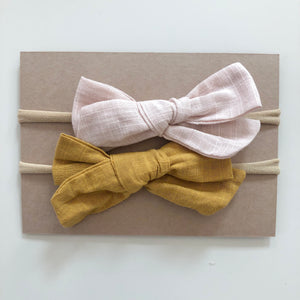 Cream / Mustard SET COA cotton linen bow headbands - lunastreasures