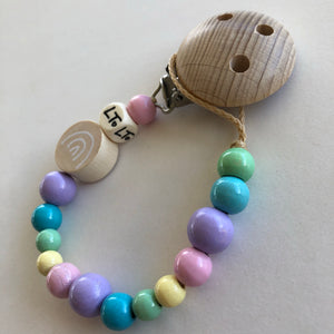 Raw Rainbow wooden soother chain - lunastreasures