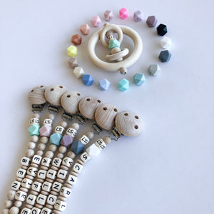 Raw Hex personalised soother chain / mini grasp ring - lunastreasures