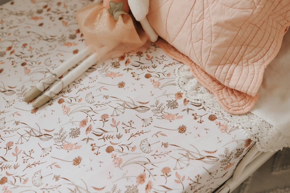 wild meadow (pink petals) bamboo JERSEY SINGLE bed sheet - lunastreasures