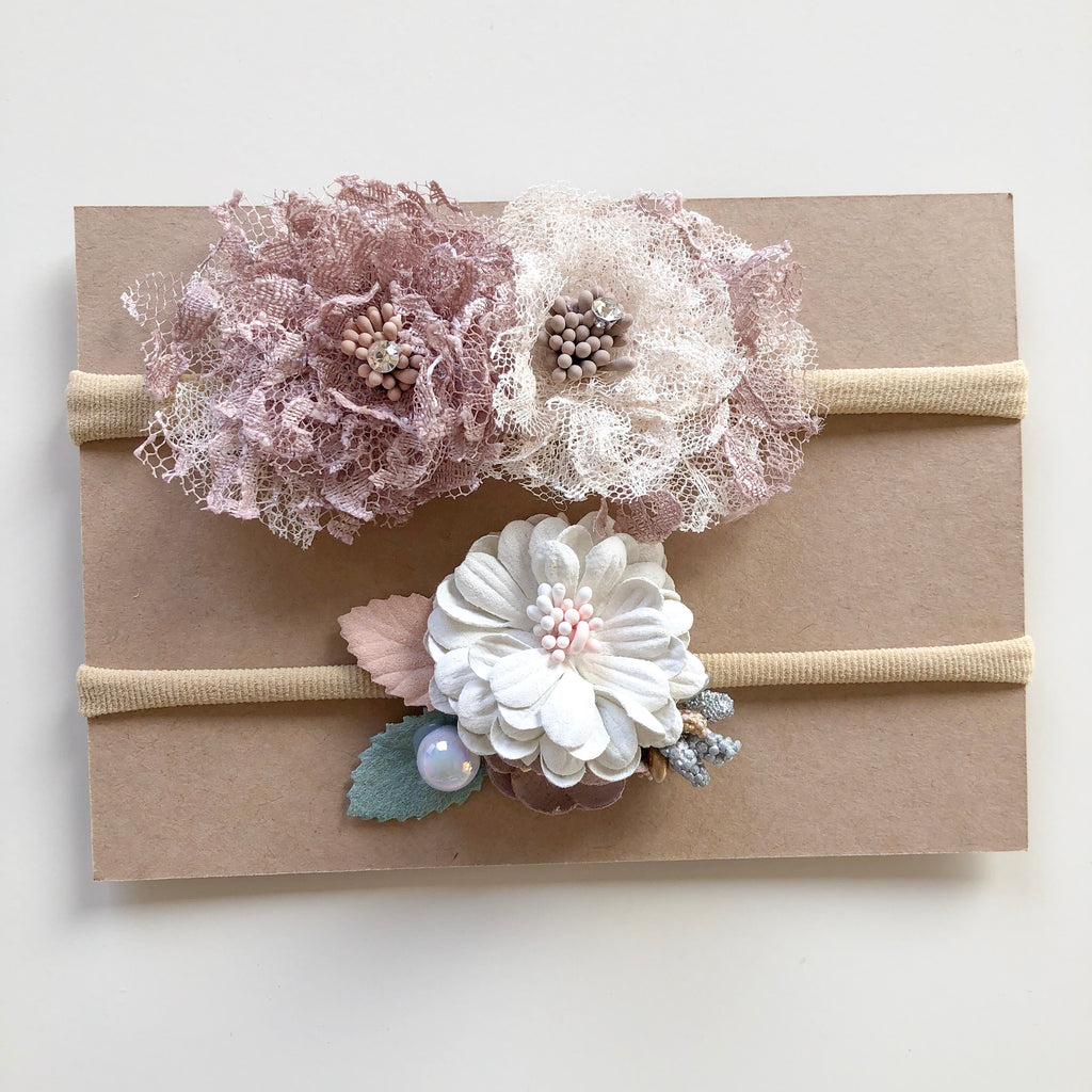 SET BELLROSE & ZALIE floral headbands (from newborn) - lunastreasures