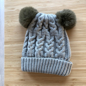 SAGE DOUBLE POM cosy knit beanie - lunastreasures