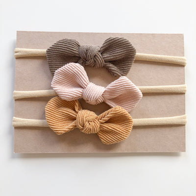 EARTH SET ELSIE petite corduroy bow headbands (from newborn) - lunastreasures