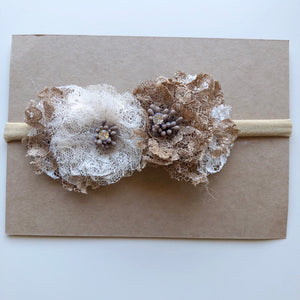 EARTH ROSE floral lace headband (from newborn) - lunastreasures