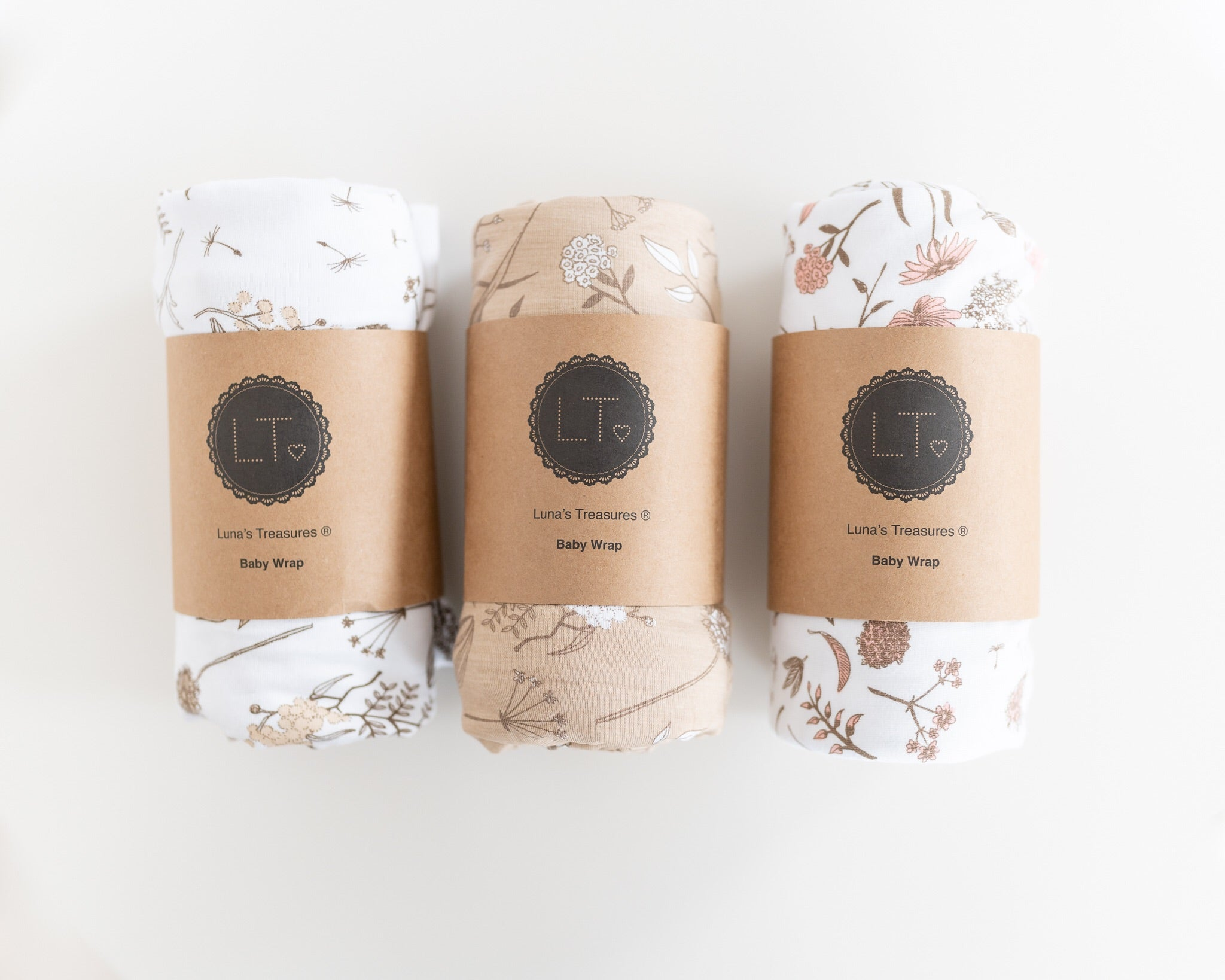 Wild meadow (neutral base with white petals) bamboo JERSEY swaddle wrap - lunastreasures