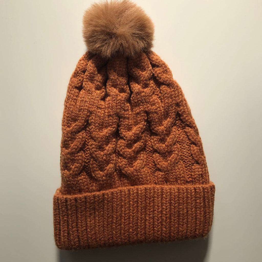 DESERT SINGLE POM cosy knit beanie - lunastreasures