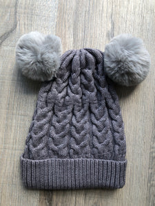NEW drop STORM DOUBLE POM cosy knit beanie - lunastreasures