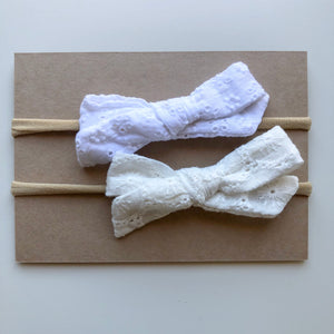 SET ELOISE lace bow headbands (from newborn) - lunastreasures