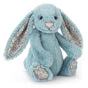 Jellycat Blossom bashful little bunny medium size - aqua - lunastreasures