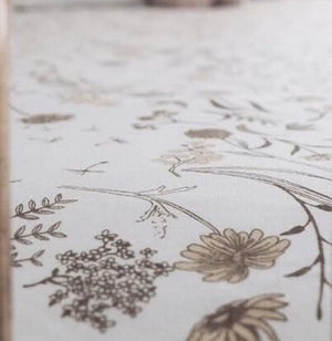 wild meadow (neutral petals) bamboo JERSEY SINGLE bed sheet - lunastreasures