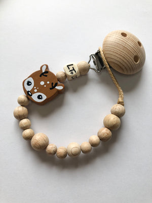 Delilah the deer raw wooden soother chain - lunastreasures