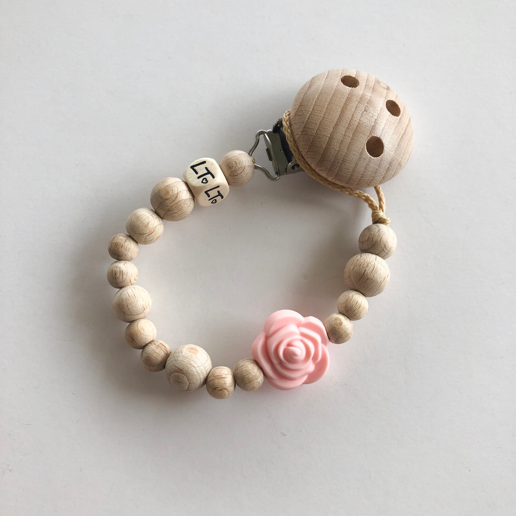 Raw Rose Blossom soother chain - lunastreasures