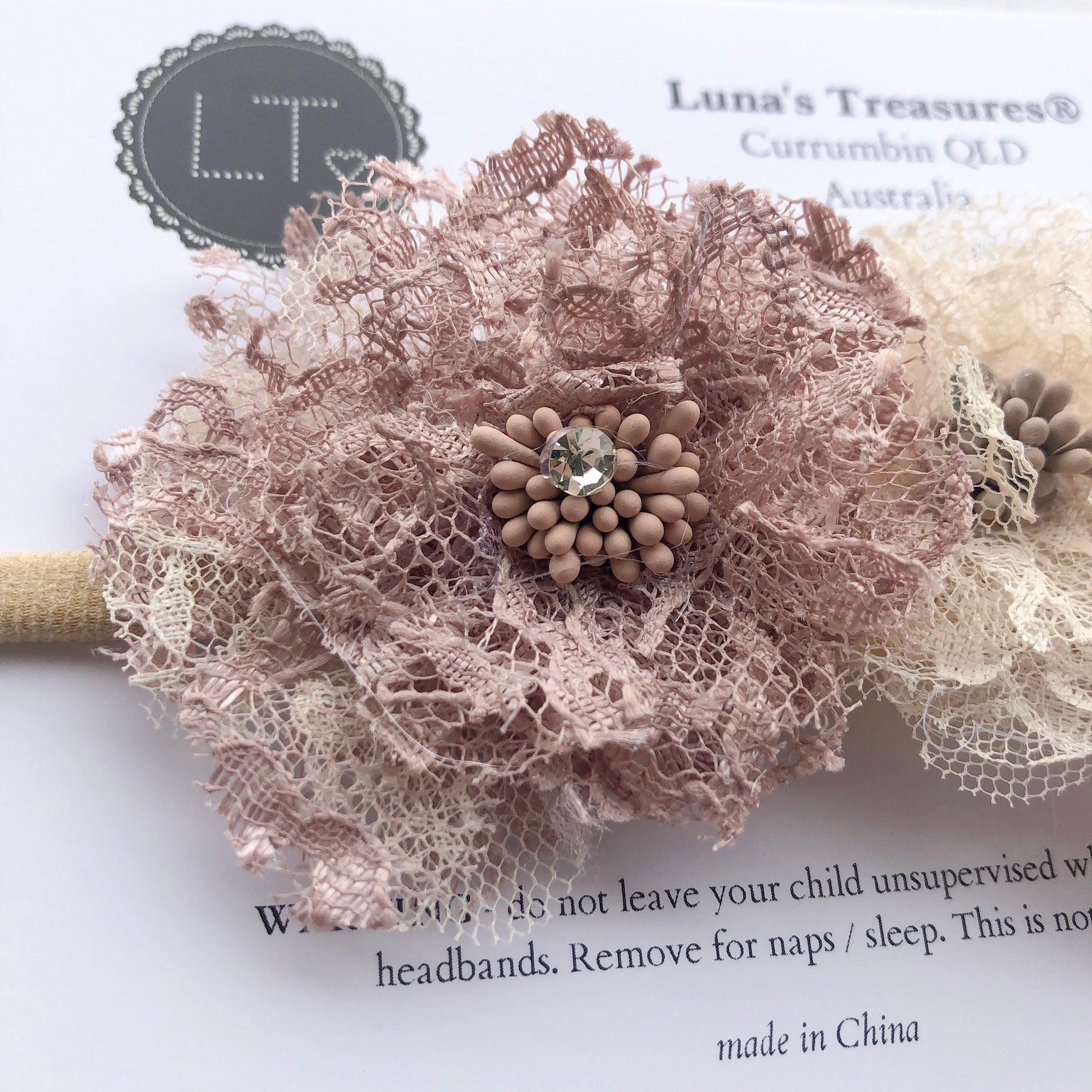 BELLROSE floral lace headband (from newborn) - lunastreasures