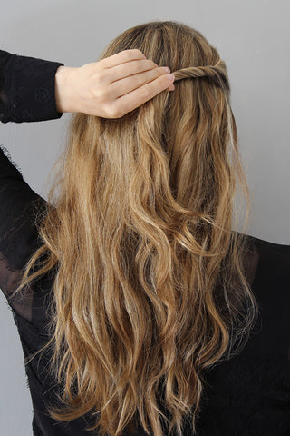 The Easy Twisted Half-Up Hairstyle for Wavy Hair Step 2