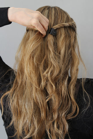 The Easy Twisted Half-Up Hairstyle for Wavy Hair Step 3