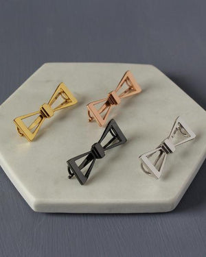 Plated brass bow barrette in yellow gold plated, rose gold plated, black plated and rhodium plated finishes