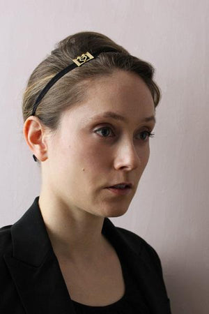 Bow and grosgrain ribbon head wrap / headband in yellow gold plated brass