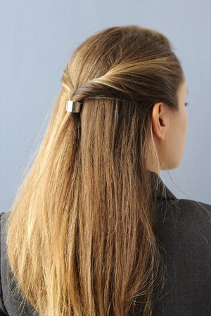 Little Classic Pony Cuff around a twisted half ponytail (silver / rhodium color)
