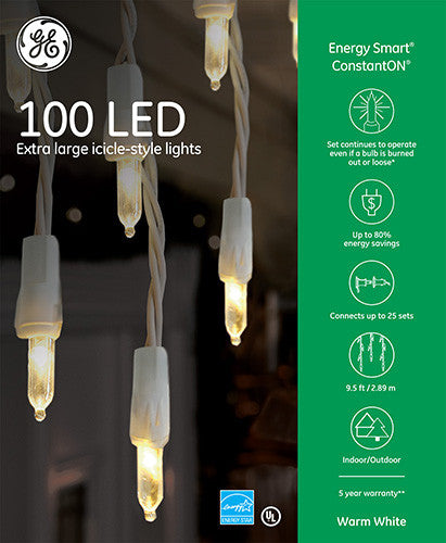 LED Holiday Icicle String Set 100 Count Warm White   3 Sets