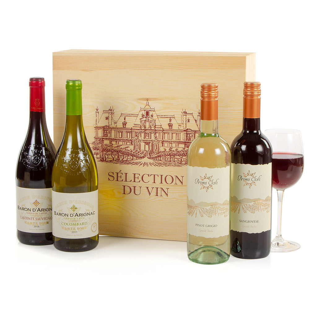 Four Wines in Wood Gift Crate