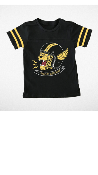 """Fast As Lightening "" Football Tee - Black/Gold"