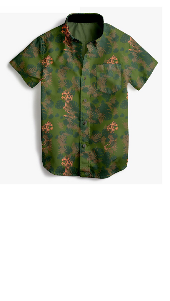 Camo print boys button up shirt with tigers printed throughout