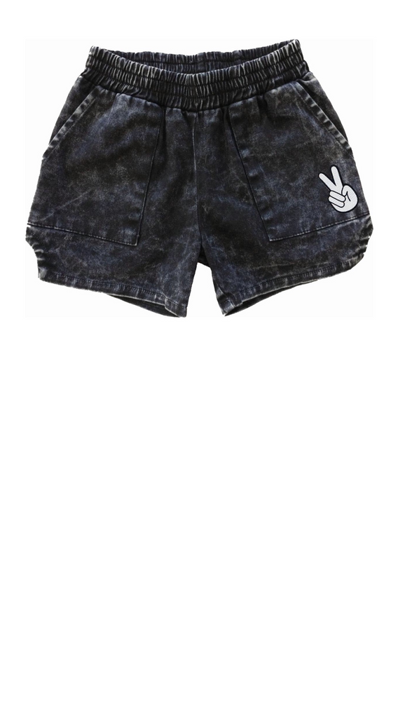 "black boys ""dad"" style shorts with peace sign patch on left leg"