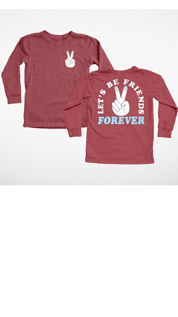 """Let's Be Friends"" Long Sleeve Tee - Cardinal"