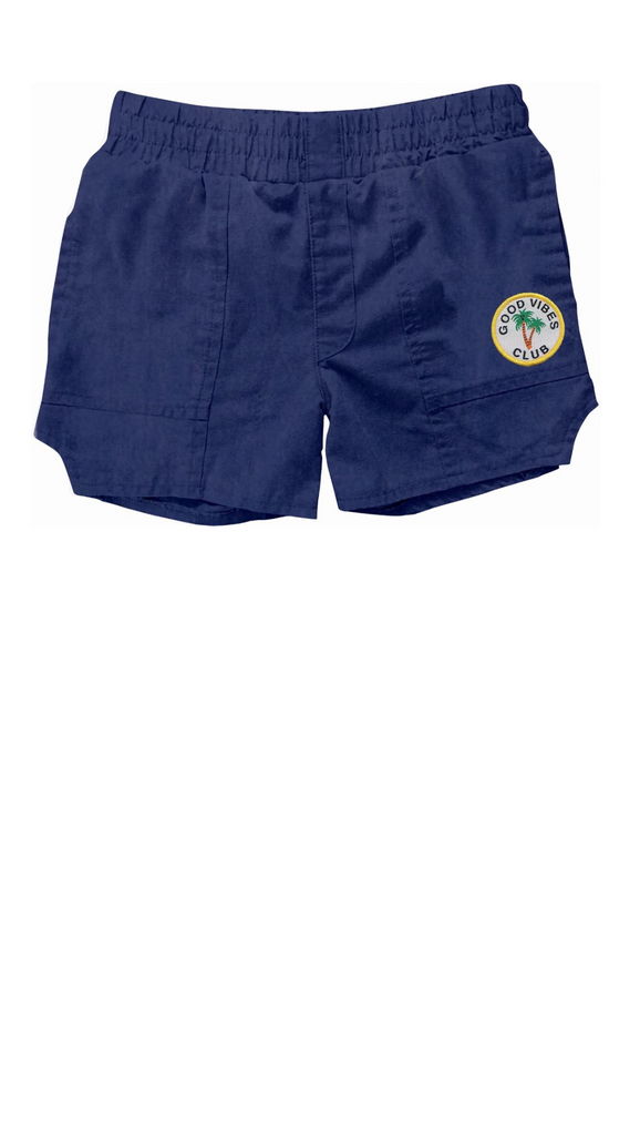 "navy blue boys ""dad"" style shorts with ""good vibes club"" patch on left leg"