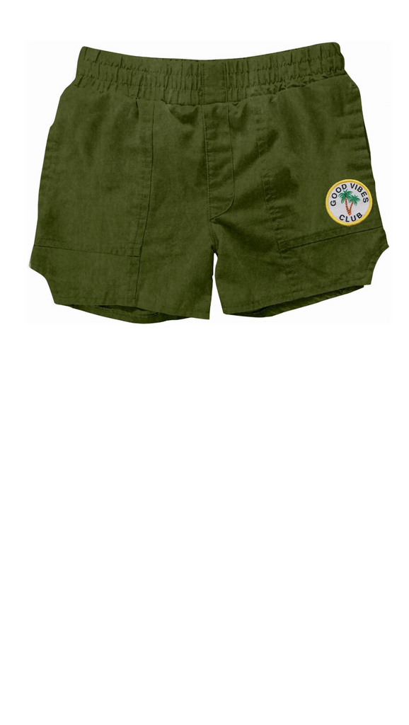 "olive colored boys ""dad"" style shorts with ""good vibes club"" patch on left leg"
