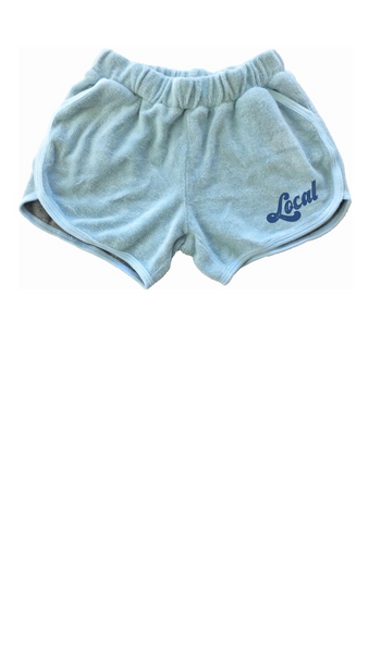 Blue Terry Loop Girls dolphin cut shorts