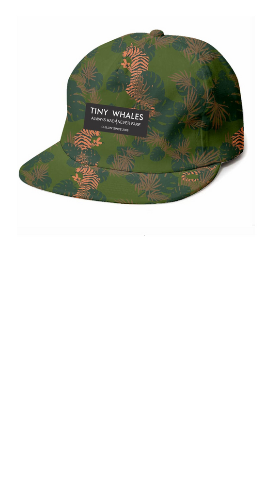 Green camo boys snapback hat with tigers printed throughout