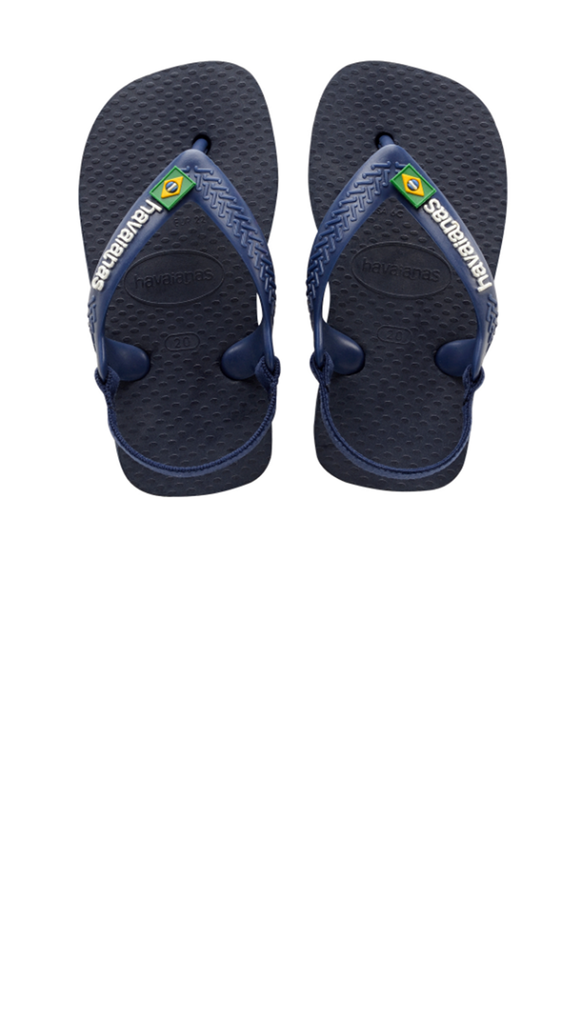 Baby Brazil Logo Sandal - Navy Blue/Citrus Yellow
