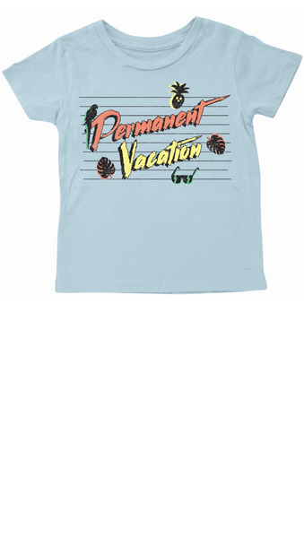 "Light Blue boys T-shirt with ""permanent vacation"" graphic on front"