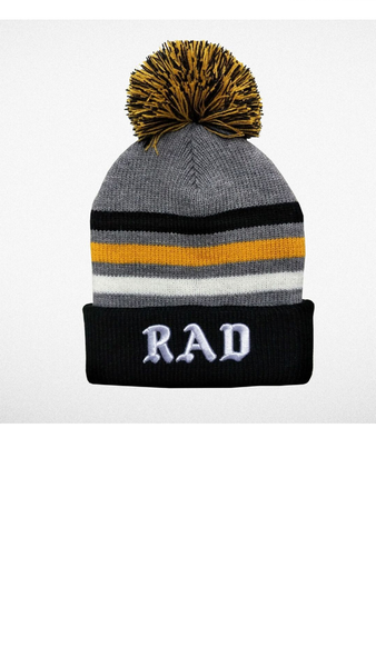 """Rad"" Pom Pom Beanie - Black/Gray"