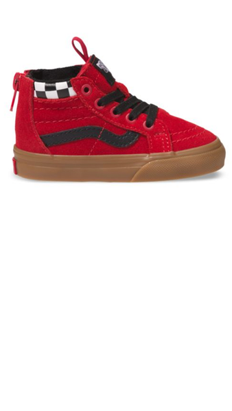 SK8-HI ZIP - checkerboard/racing red
