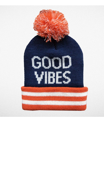 """Good Vibes"" Pom Pom Beanie - Navy/Orange"
