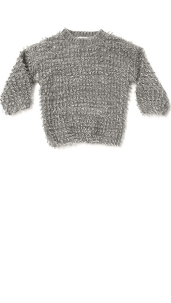 Rylee + Cru, Looped Knit Sweater - Grey