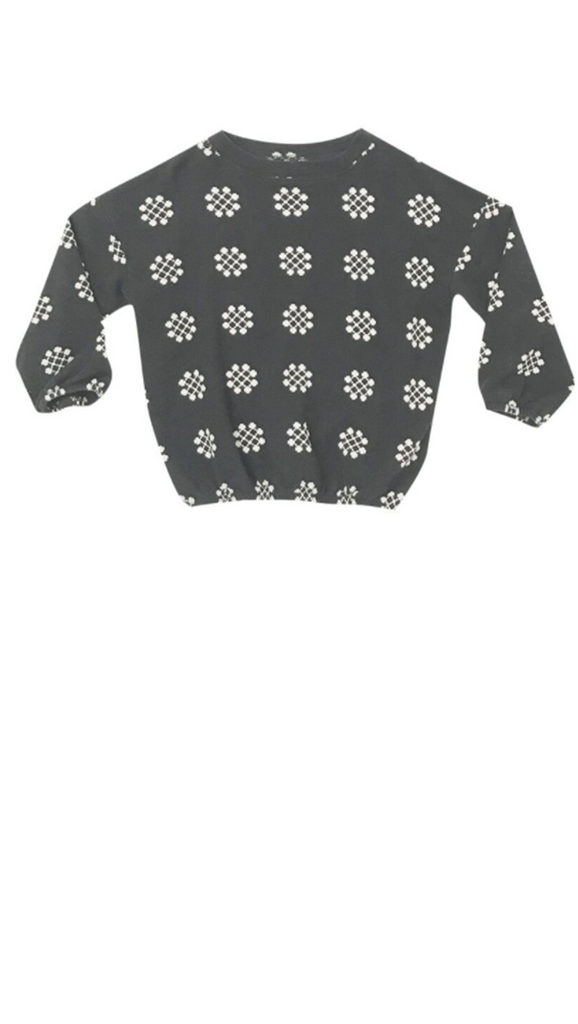 Rylee + Cru, Medallion Knit Jumper - Charcoal