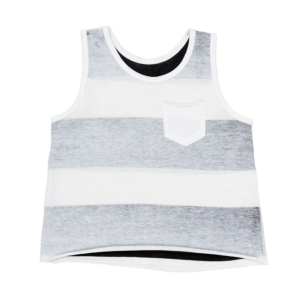 Children of the Tribe, Stripe Singlet - White/Gray