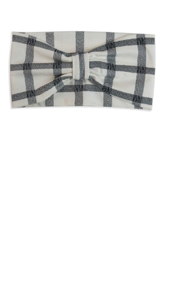 Herringbone Check Headband - Cream/Black