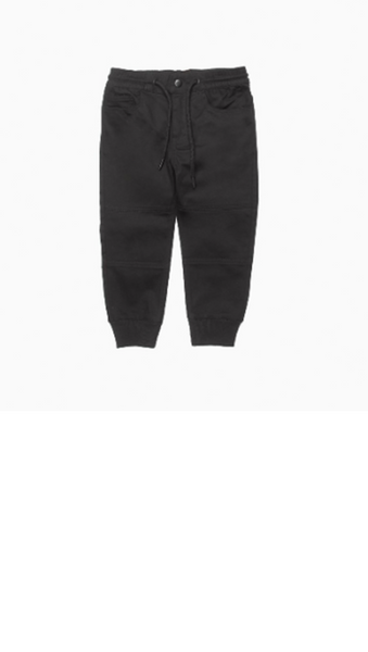 black boys pants with elastic ankles and waist