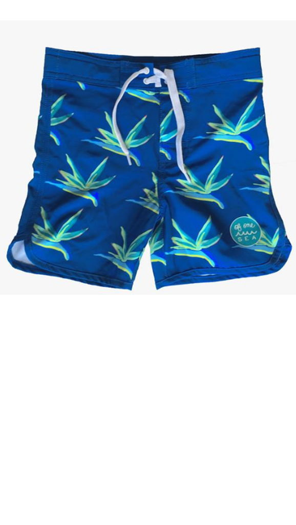 Kids Swim Trunks - Bird of Paradise Retro